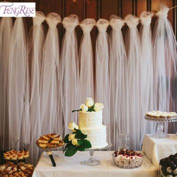 FENGRISE 100 Yards Tulle Wedding Backdrop Wedding Decoration 15cm Tulle Roll Outdoor Ceremony Birthday Christmas Party Decor