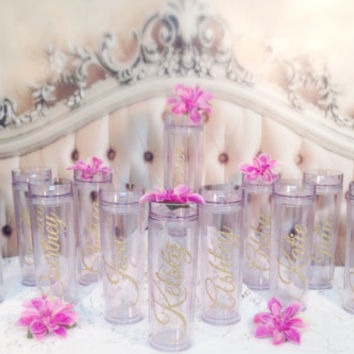 6 Acrylic Skinny Tumblers Personalized - Beautiful Glitter bridesmaid keep sakes gifts  Wedding  Gifts Unique Wedding favor