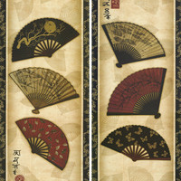 2 Panels Japanese Traditional Flower Fans Wall Hanging Frameless Paintings, Home Decorative Cotton Canvas Wall Posters-in Painting & Calligraphy from Home & Garden on Aliexpress.com | Alibaba Group