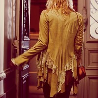 Free People Lacey Inset Suede Jacket