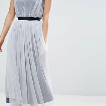 ASOS PETITE WEDDING Mesh Midi Dress With Ribbon Strapping Detail at asos.com