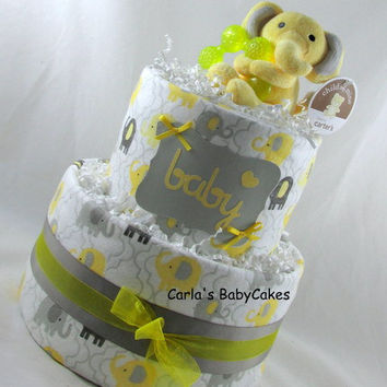 Elephant Diaper Cake,Grey and yellow diaper cake,Baby Diaper Cake,Baby Shower Gift,New Mom Gift,New Baby Gift,Neutral diaper cake,Mom to be