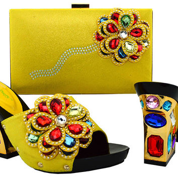2017 New design Italian Shoes With Matching Bags African Women Shoes And Bags Set In yellow Good Selling ! BCH-36 Yellow