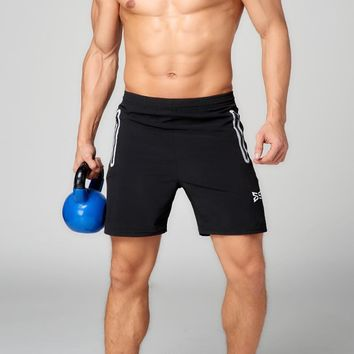 Spandex Running Shorts with Reflective Pocket and Zipper