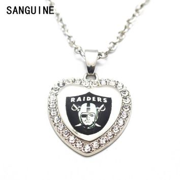1pcs Oakland Raider Crystal Football Glass Silver Heart Pendant Necklace 50cm Chains For Men Sports Necklace Jewelry gift