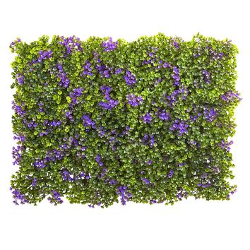 Silk Flowers -6 Inch X Purple And Green Clover Mat -Set Of 12 Artificial Plant