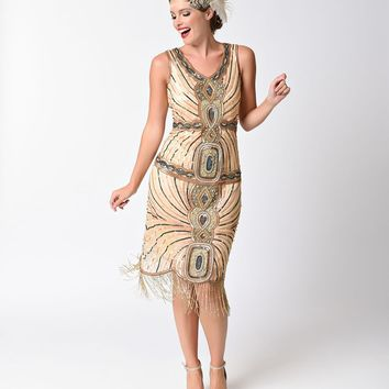 1920s Style Peach & Turquoise Beaded Deco Fringe Flapper Dress