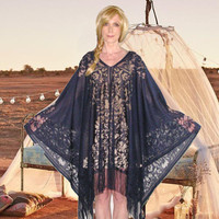 Kimono Top Navy Lace Lightweight Fringed Poncho Flowing Bohemian Hippie Gypsy Tunic Fits XS Small Medium Large XL Plus Size