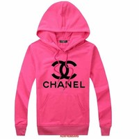 CHANEL Trending Women Men Hoodie Long Sleeve Pullover Top Sweater Rose Red I