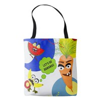Funny Monster fruit illustrations Tote Bag