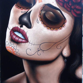 Mexican catrina skull girl black velvet oil painting handpainted signed art No.3