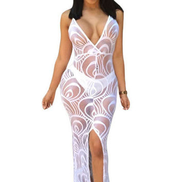Black/white sheer lace split long dress spaghetti straps sexy deep V allure see thru nightclub dress charming summer lace dress