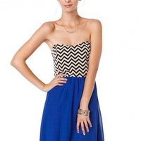Strapless Zig Zag Sun Dress in Cobalt- ShopSosie.com