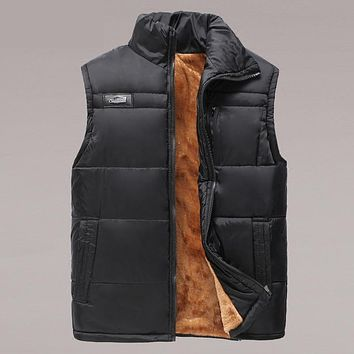 Man autumn Plus size Casual Solid Stand sleeveless Thick down parkas male winter zip warm down jackets men spring down vests
