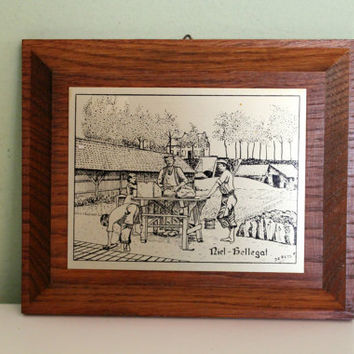 Vintage Picture with Frame, Metal Picture, Metal Art, Signed, Collectible Wall, Office Decor