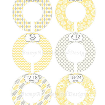Custom Closet Dividers Baby Closet Dividers Girl Yellow Grey Chevron Argyle Baby Shower Gift Closet Organizers Baby Nursery 009