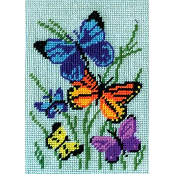 """Butterflies Galore Needlepoint Kit 5""""X7"""" Stitched In Yarn"""