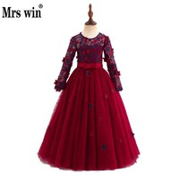 Robe De Bal Enfant 2018 New Flower Girl Dresses Elegant O-neck Long Sleeve Luxury Applique Floor-length Ball Gown For Girl X