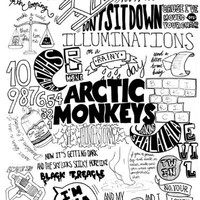 SV1819 Arctic Monkeys Painting Indie Rock Band Music BW Art 24x18 Print POSTER