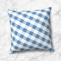 Blue Gingham Throw Pillow - White Blue Gingham Pattern - Size Options - Cover Only or Full Pillow - Made to Order
