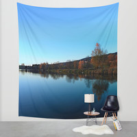 Indian summer sunset at the fishing lake | waterscape photography Wall Tapestry by Patrick Jobst | Society6