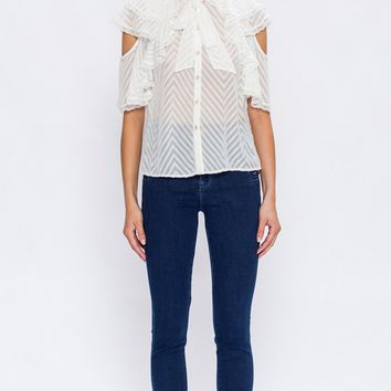 Chevron And  Ivory Blouse