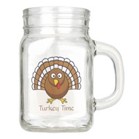 Cute Thanksgiving Turkey Time with Year on Back Mason Jar