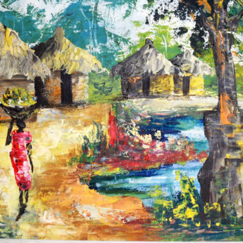 Bondo 1950s Abstract Impressionist Impasto oil painting of African Lake Riverside Village, art