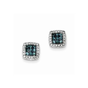 Sterling Silver White & Blue Diamond Stud Earrings