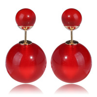 Gum Tee Tribal Earrings - Glass Red