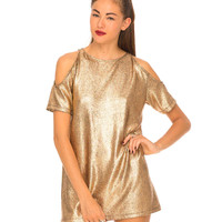 Motel Savannah Crackle Cold Shoulder Dress in Rose Gold