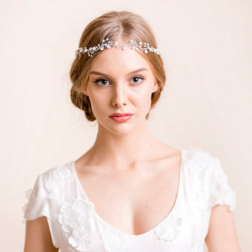 Bridal Vine of Freshwater Pearl and Rhinestone - Wedding Vine - Pearl Vine - Wedding Wreath - Wedding Headband - Bridal Headband -