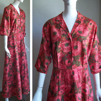 Vintage 50s 60s Evelyn Pearson Watercolor Floral  Lounge Maxi Dressing Gown Dress L