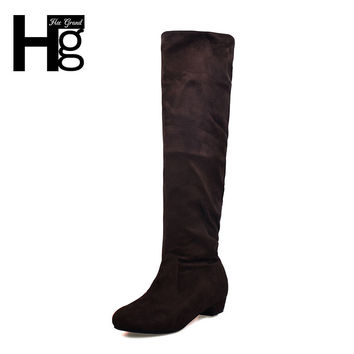 HEE GRAND Fashion Women Knee-high Long Boots Slim Showing Low Heel Winter Autumn Shoes Slip-on Leisure Folding Casual XWX500