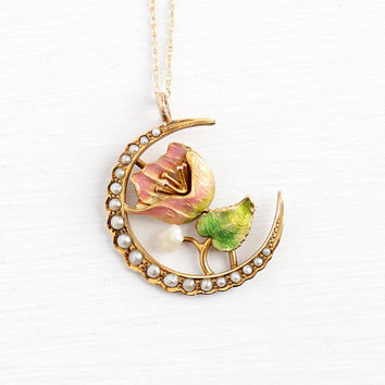 Moon Flower Necklace - Antique Enamel 10k Rosy Yellow Gold Brooch Pin Conversion Pendant - 1900s Crescent Moonflower Seed Pearl Pink Jewelry