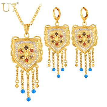U7 Wedding Accessories Tassels Long Necklace Set Gold Color Trendy Party Long Earrings Indian Jewelry Set For Women S631
