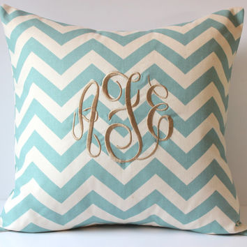 Monogram Pillow Cover - Chevron - Personalized Custom - 18 x 18 - Nursery Decor - Dorm Decor - Sorority - Wedding - Bridal - Holiday Decor