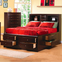 Phoenix Contemporary King Bookcase Bed with Underbed Storage Drawers