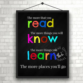 Read Know Learn | Motivation | Teacher | Chalkboard | Elementary school | Quote | Art Print | Typography | Classroom study room| Printable