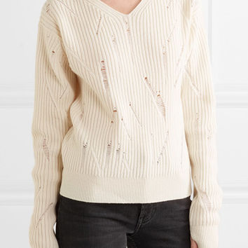 Helmut Lang - Distressed ribbed wool sweater
