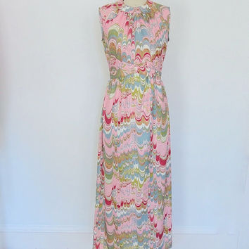 1960s Maxi Dress / Vintage Pink Print / Mad Men Mid-Century / Leslie Fay / Vacation Beach Resort / Size Small S Medium M