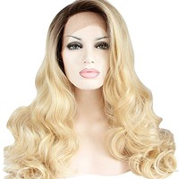 Ebingoo Long Curly Synthetic Lace Front Wig Dark Root Ombre Blonde Full Hair Wigs For Black Women(18inches)