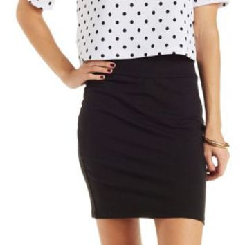 Black Stretch Cotton Bodycon Mini Skirt by Charlotte Russe