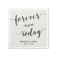 Black And White Calligraphy Wedding Napkins Standard Cocktail Napkin
