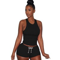 Summer Style Women Sleeveless 1PC Crop Top + Shorts Fitness 2 Piece Set Casual Workout Casual Outfit Two Piece Set For Women #63