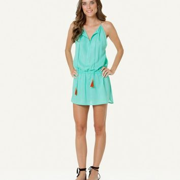 SOFIA SOLID FRESH MINT TUNNEL NECK SHORT DRESS | V i X Paula Hermanny