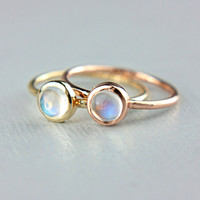 Moonstone Gold Ring 14k Yellow Rose White Gold Rainbow Moonstone Gold Ring Made in Your Size Rainbow Moonstone Engagement Ring