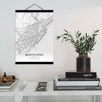 Barcelona, Spain City Map Wooden Framed Canvas Painting Home Decor Wall Art Print Pictures Poster Hanger