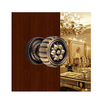 European Gold Cure Copper Invisible Locks Antique Carved Door Pull Lock American Bathroom Spherical Single Handles