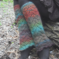 Colorful Legwarmers Woodland Pixie Hand Knitted Ready To Ship